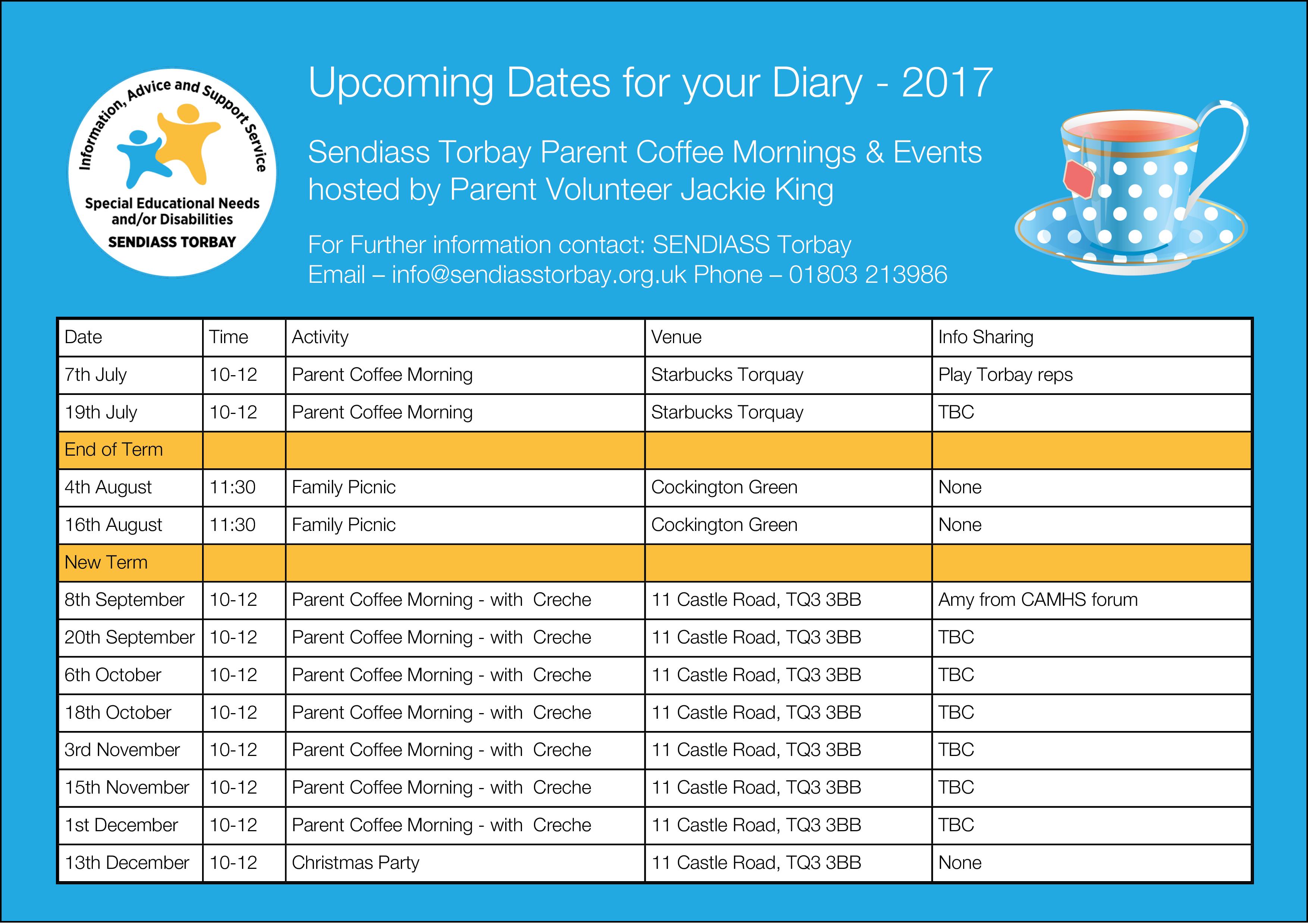 Sendiass Torbay Diary Dates 2017