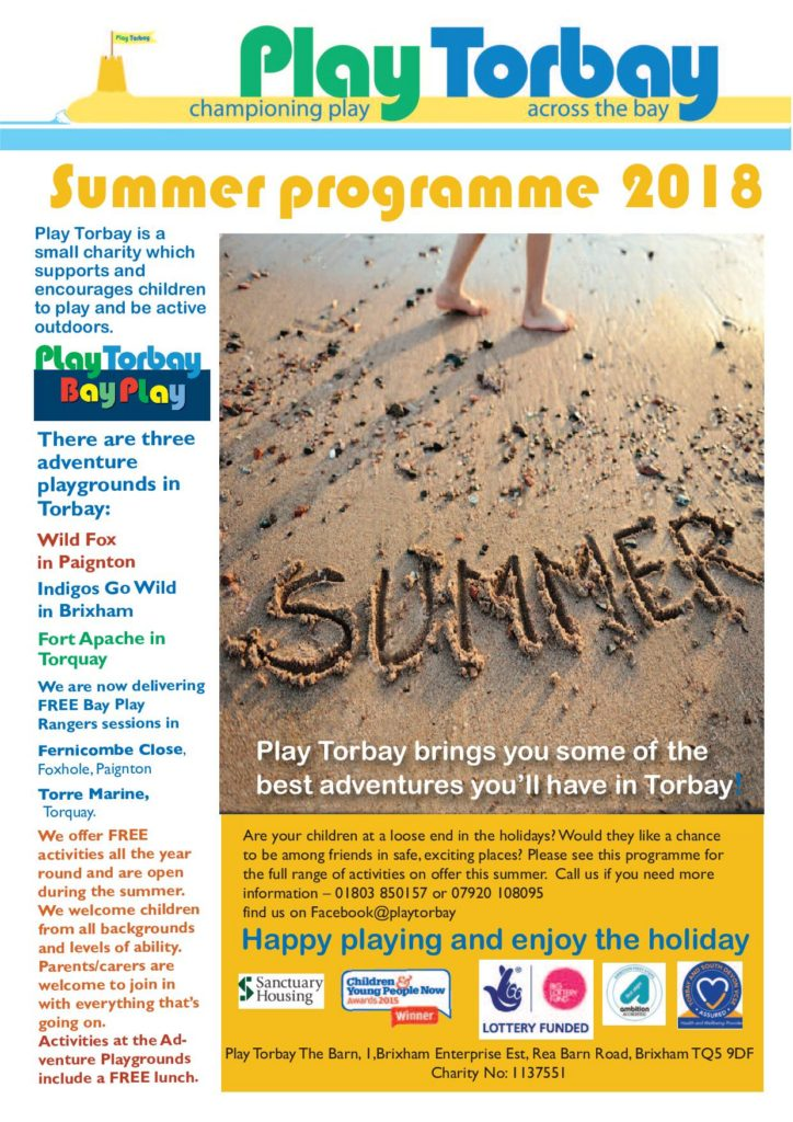 Play Torbay's 2018 summer holiday activities programme