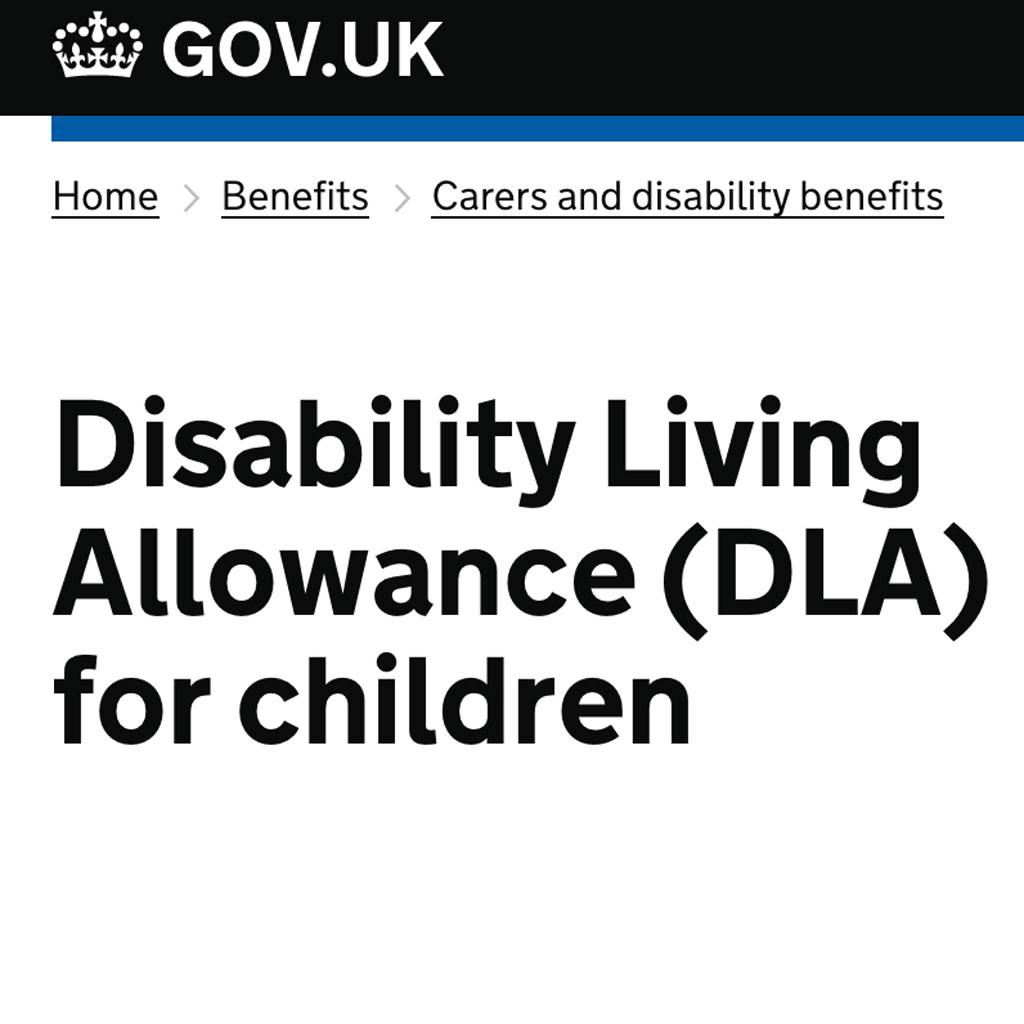 Disability Living Allowance (DLA) for children application form