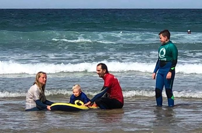Youngsters enjoying 'surf therapy' with the Wave Project